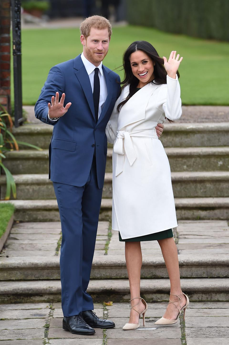 Prince Harry and Meghan Markle in the Sunken Garden at Kensington  after the announcement of their engagement in November 2017. [Photo: PA]