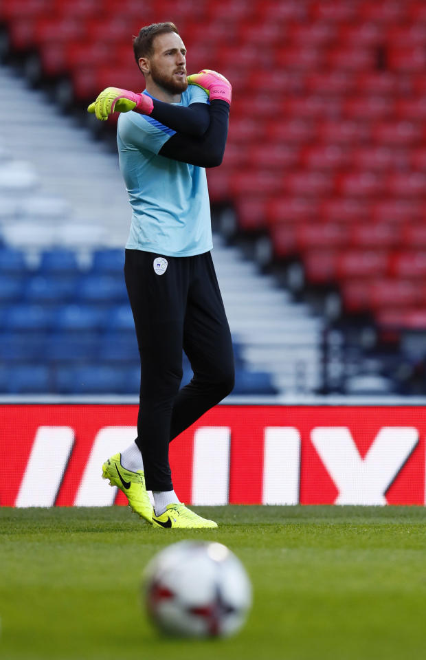 Britain Soccer Football - Slovenia Training - Hampden Park, Glasgow, Scotland - 25/3/17 Slovenia's Jan Oblak during training Action Images via Reuters / Jason Cairnduff Livepic