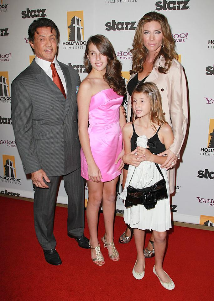 "<a href=""http://movies.yahoo.com/movie/contributor/1800020291"">Sylvester Stallone</a> and family attend the 14th Annual Hollywood Awards Gala at the Beverly Hilton Hotel on October 25, 2010."