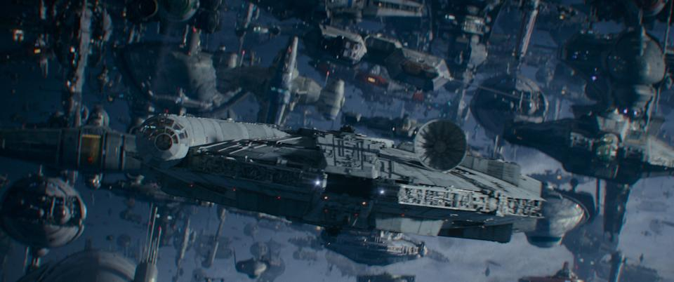 """The Millennium Falcon swoops in to lead a Resistance assault in """"Star Wars: The Rise of Skywalker."""""""