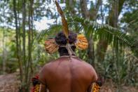 Member of Brazil's indigenous Guarani people pictured in unknown location