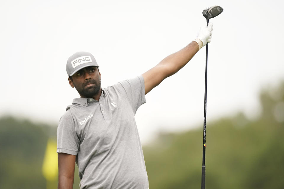 Sahith Theegala tries to direct his drive from the 18th tee box during the third round of the Sanderson Farms Championship golf tournament in Jackson, Miss., Saturday, Oct. 2, 2021. (AP Photo/Rogelio V. Solis)
