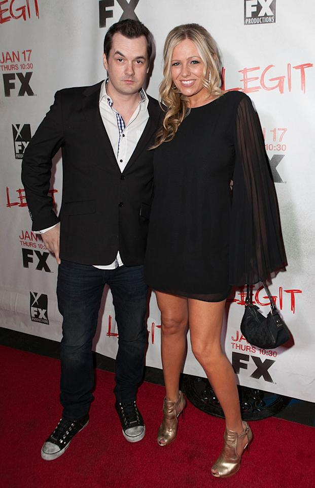 "Jim Jefferies and Kate Luyben attend the screening of FX's new comedy series ""Legit"" on January 14, 2013 in Los Angeles, California."