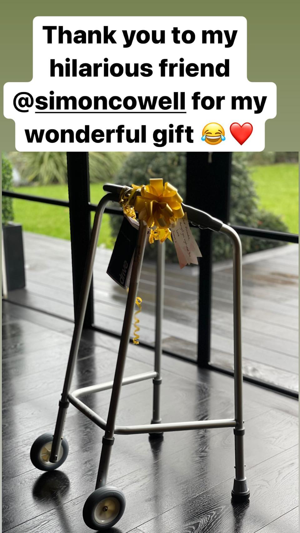 Amanda revealed her friend Simon Cowell had jokingly sent her a walking frame with a yellow bow. Photo: Instagram/Amanda Holden