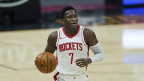 Houston Rockets' Victor Oladipo drives in the second half of an NBA basketball game against the Cleveland Cavaliers, Wednesday, Feb. 24, 2021, in Cleveland. (AP Photo/Tony Dejak)