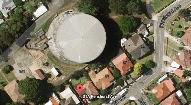 An aerial image shows the water tower's proximity to the advertised property. Picture: Google