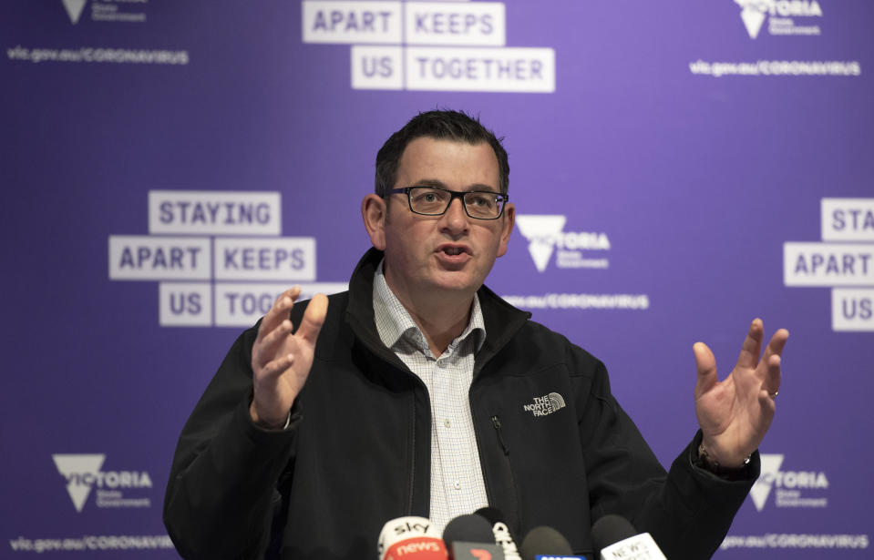 Victorian Premier Daniel Andrews briefs the media on conditions concerning the Covid-19 situation in Melbourne, Australia, on Monday, July 6, 2020. Andrews announced that the state border with New South Wales will be closed from late Tuesday night in an agreement between the two state premiers and Prime Minister Scott Morrison. (AP Photo/Andy Brownbill)