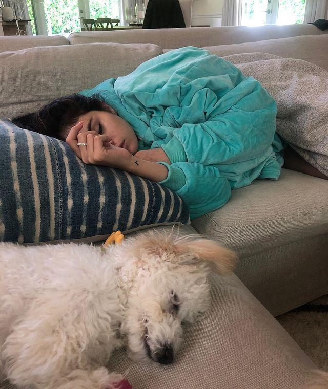 """<p>The singer is just as obsessed with her new puppy, Winnie as we are, who has featured in several of the star's Instagram.</p><p><a href=""""https://www.instagram.com/p/B1uAESOD7eN/"""" rel=""""nofollow noopener"""" target=""""_blank"""" data-ylk=""""slk:See the original post on Instagram"""" class=""""link rapid-noclick-resp"""">See the original post on Instagram</a></p>"""