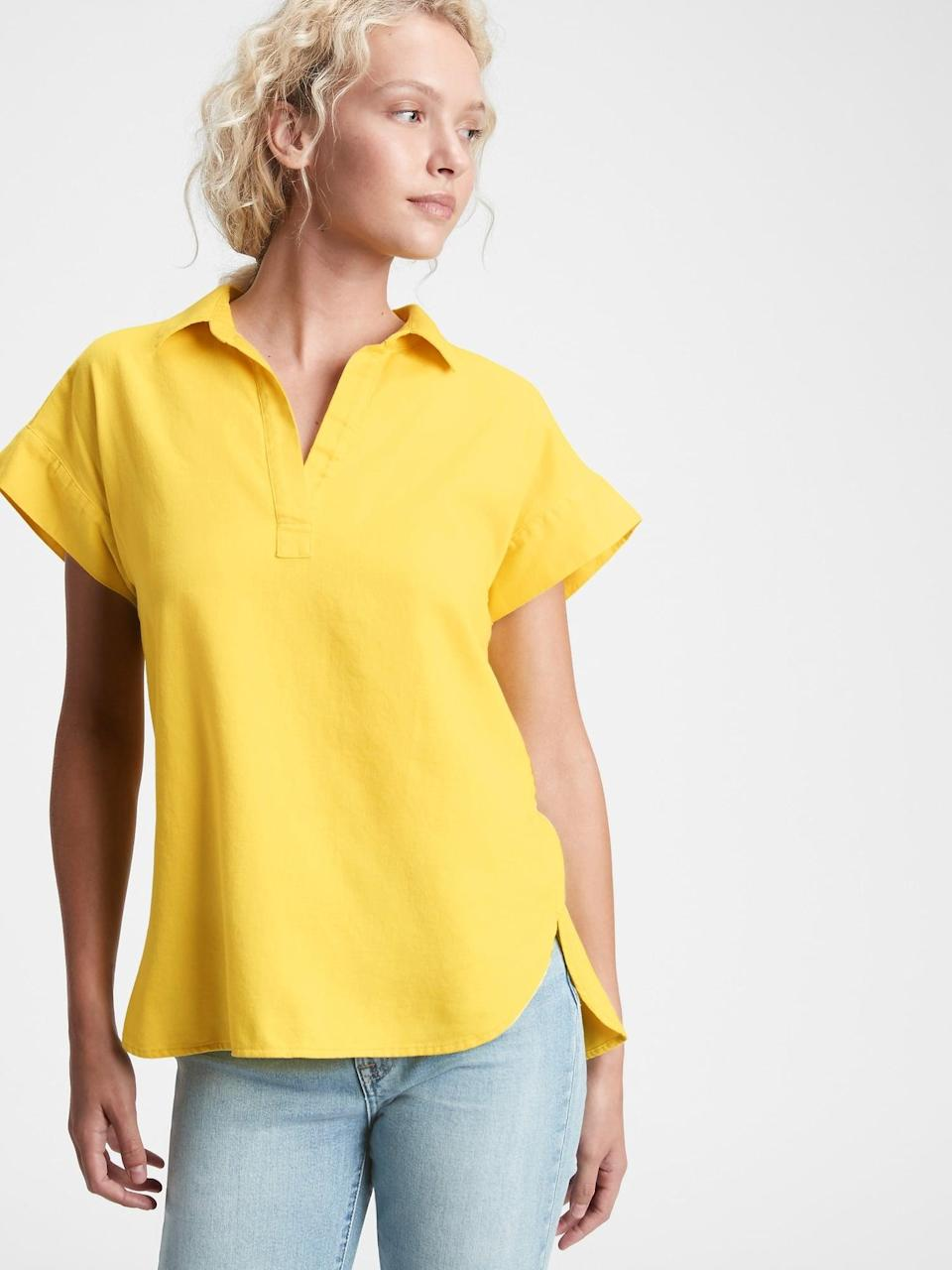 """<p>This <span>Gap Collared Popover Top</span> ($28, originally $50) looks great when paired with a pair of jeans. It's just the right easy going lift to be a """"work from home"""" favorite.</p>"""