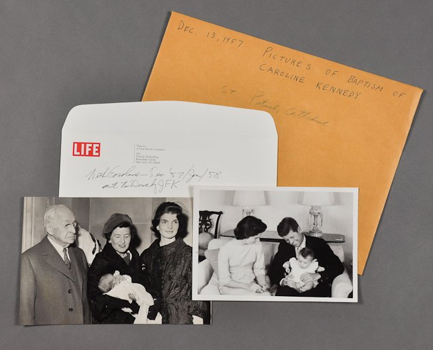 """These photos capture the baptism of Caroline Kennedy in December, 1957. <a href=""""http://www.mcinnisauctions.com/"""" rel=""""nofollow noopener"""" target=""""_blank"""" data-ylk=""""slk:(Photo courtesy of John McInnis Auctioneers)"""" class=""""link rapid-noclick-resp"""">(Photo courtesy of John McInnis Auctioneers)</a>"""