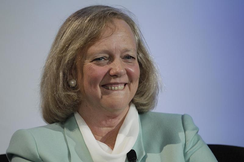FILE - In a Friday, March 9, 2012 file photo, Hewlett Packard CEO and President Meg Whitman speaks at a conference on the Stanford University campus in Palo Alto, Calif. HP is in the midst of a turnaround under a new chief, former eBay Inc. CEO Whitman. Hewlett-Packard Co. showed signs of recovery in the first three months of the year as it strengthened its position as the world's largest maker of personal computers and gained back some of the business it had lost while weighing whether to dump its PC division. HP's stock jumped nearly 7 percent by early afternoon Thursday, April 12, 2012, the first trading day since research groups Gartner and IDC released their quarterly PC shipment estimates. (AP Photo/Paul Sakuma, File)