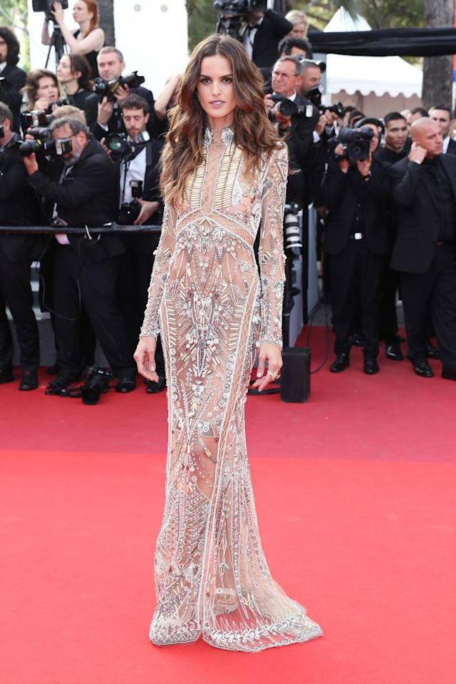"<p>The Brazilian model wore a sheer gown that featured jeweled detailing to ""The Beguiled"" screening on May 24, 2017 in Cannes, France. (Photo by Neilson Barnard/Getty Images) </p>"