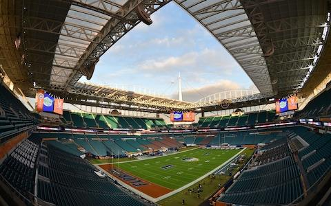 A general view of Hard Rock Stadium before a game between the Florida Gators and the Virginia Cavaliers. - Credit: Steve Mitchell/USA TODAY Sports
