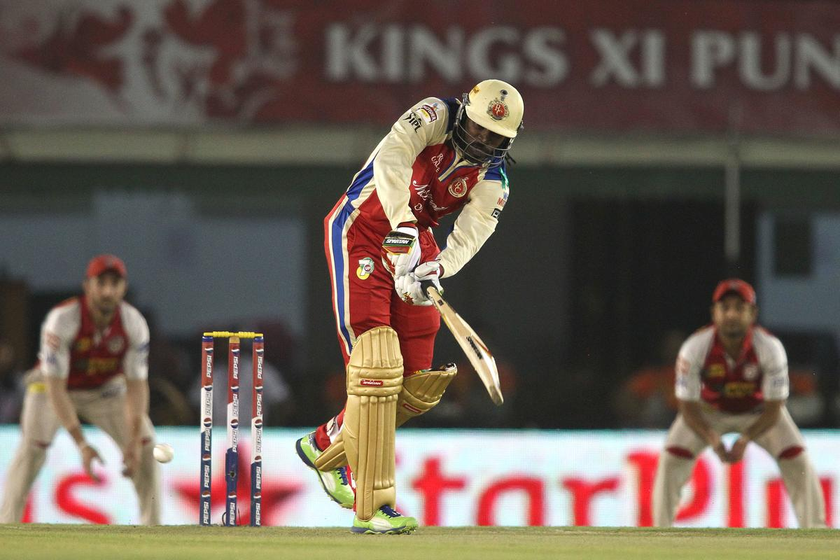 Chris Gayle of the Royal Challengers Bangalore plays a delivery through the leg side during match 51 of the Pepsi Indian Premier League (IPL) 2013 between Kings XI Punjab and the Royal Challengers Bangalore held at the PCA International Stadium in Mohali on the 6th May 2013..Photo by Shaun Roy-IPL-SPORTZPICS ..Use of this image is subject to the terms and conditions as outlined by the BCCI. These terms can be found by following this link:..https://ec.yimg.com/ec?url=http%3a%2f%2fwww.sportzpics.co.za%2fimage%2fI0000SoRagM2cIEc&t=1498443093&sig=nP0Dl3I.p89ZN8kM8jg1tg--~C