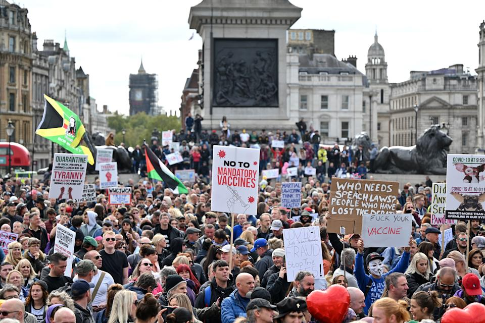 Protesters gather in Trafalgar Square in London on September 26, 2020, at a 'We Do Not Consent!' mass rally against vaccination and government restrictions designed to fight the spread of the novel coronavirus, including the wearing of masks and taking tests for the virus. (Photo by JUSTIN TALLIS / AFP) (Photo by JUSTIN TALLIS/AFP via Getty Images)