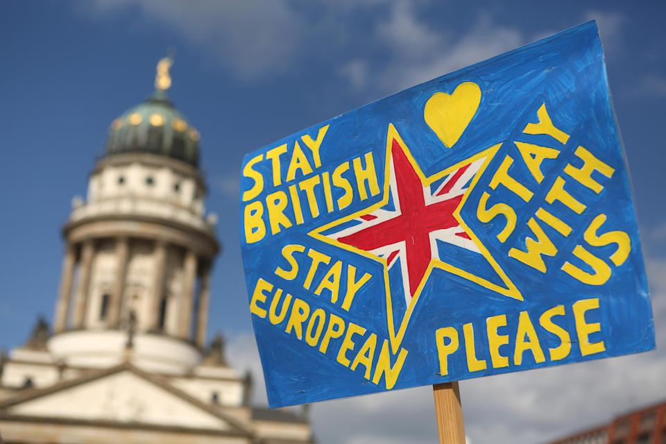 Signage at the Pulse of Europe demonstration in Berlin, Germany. Photo: Adam Berry/Getty Images