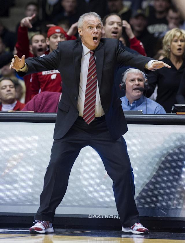 Wisconsin's head coach Bo Ryan reacts to the action on the court in the second half of an NCAA college basketball game, Saturday, Jan. 25, 2014, in West Lafayette, Ind. Wisconsin defeated Purdue 72-58. (AP Photo/Doug McSchooler)