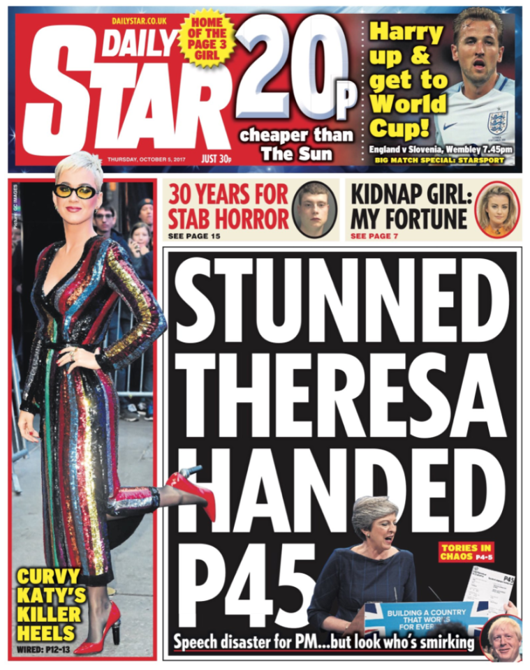 <p>The Daily Star focussed on comedian Lee Nelson's stunt, where he broke through security and handed May a P45. </p>