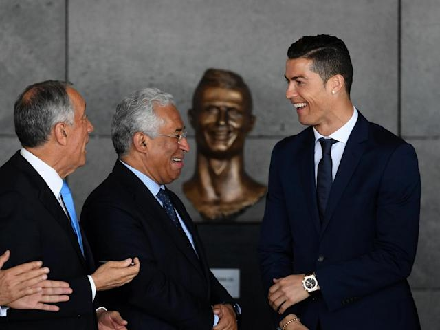 Cristiano looked delighted with his new bust (Getty)