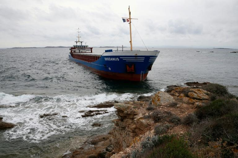 The Rhodanus, transporting 2,650 tonnes of steel coils and seven crew, ran into trouble in the Mouths of Bonifacio nature reserve (AFP Photo/PASCAL POCHARD-CASABIANCA)