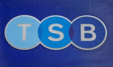 FILE PHOTO: A TSB sign is seen outside the bank's Baker Street branch in London