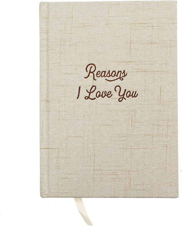 <p>Tell your partner how you feel in a creative way with this prompt-filled journal. </p> <p><span>Reasons Why I Love You Journal</span> ($20)</p>