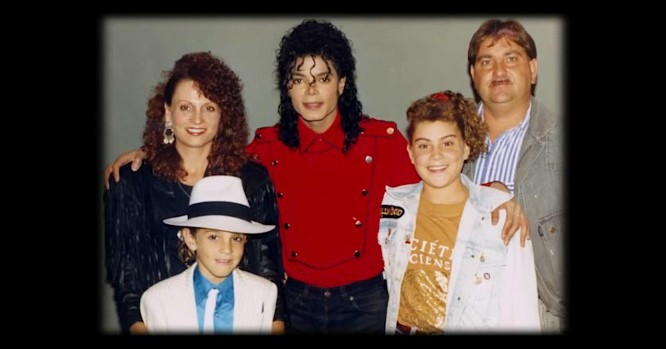 A photo of Michael Jackson with the Robson family featured in <em>Leaving Neverland</em> . (HBO)