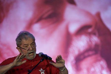 Former Brazilian President Luiz Inacio Lula da Silva speaks during a Workers' Party meeting regarding the National Act for Education, in Brasilia