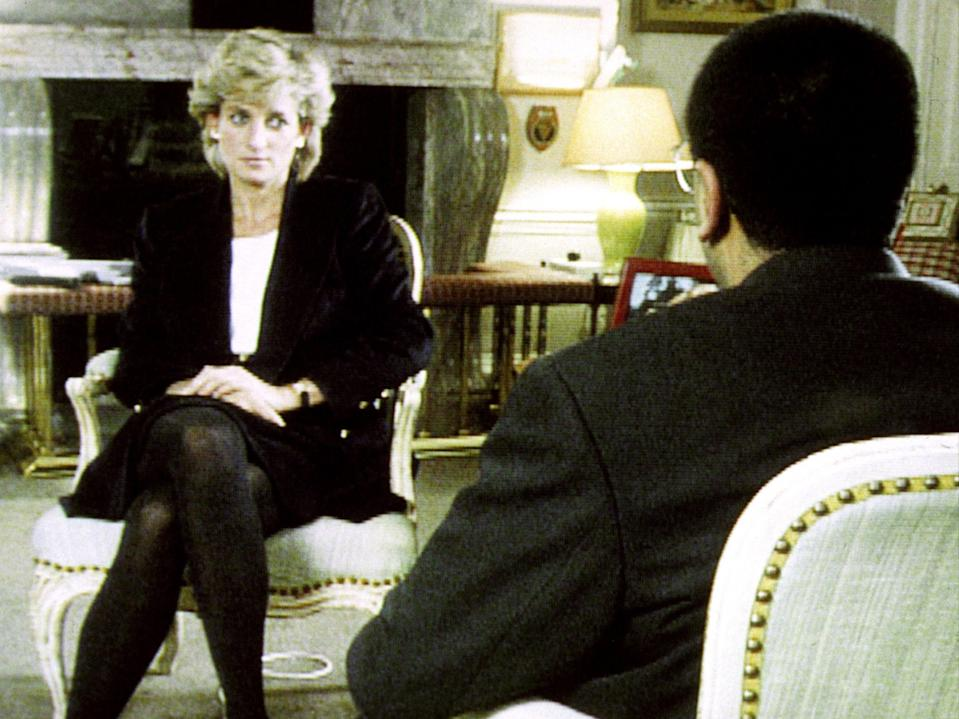 Diana's interview with Martin Bashir for the BBC famously featured her saying: 'Well, there were three of us in this marriage, so it was a bit crowded' (PA)