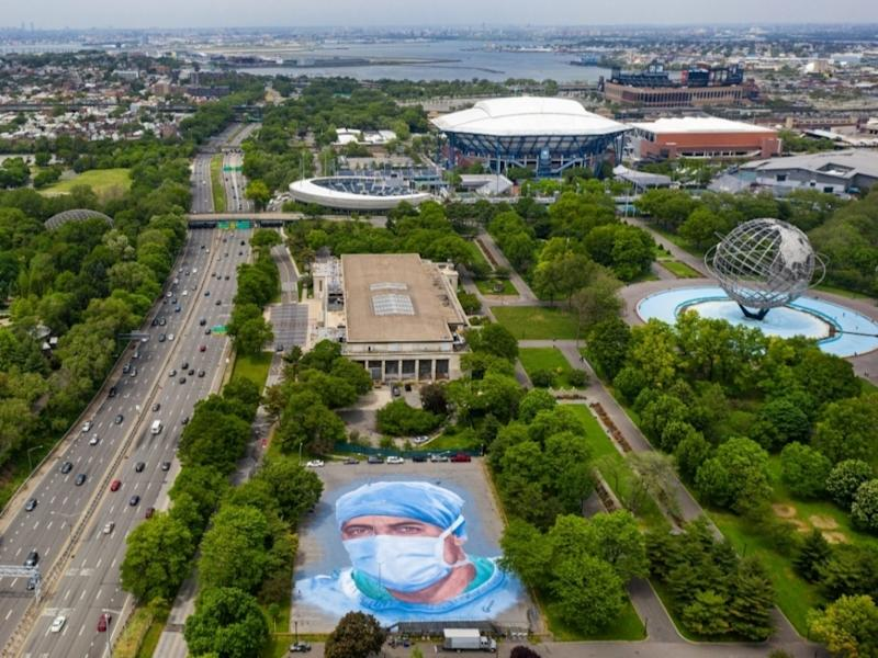 "Artist Jorge Rodríguez-Gerada's mural ""Somos La Luz"" in Flushing Meadows-Corona Park, as seen from above."