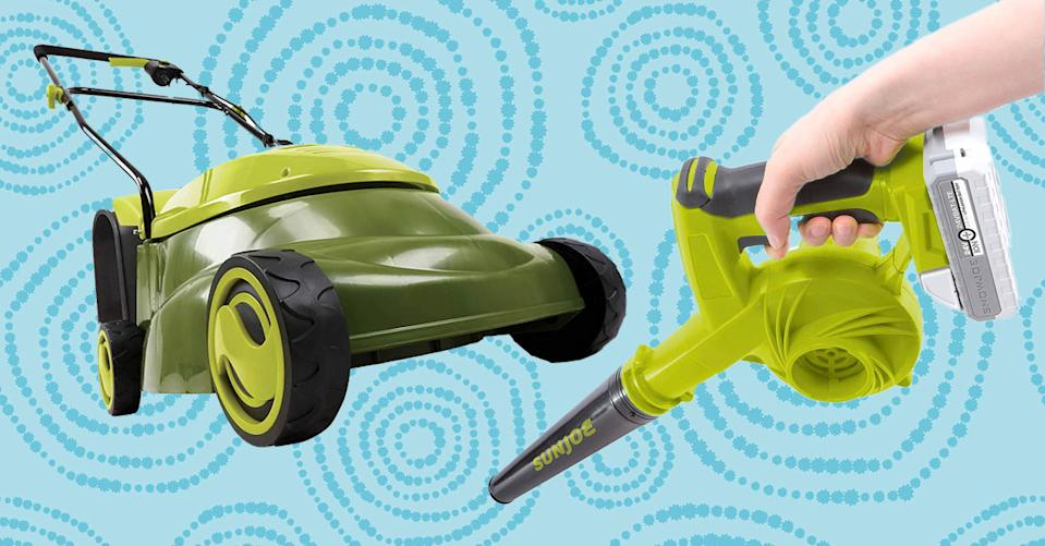 score an electric lawn mower, cordless leaf blower or electric tiller/cultivator by top-rated brand Sun Joe for up to 47 percent off. (Photo: Amazon/Getty)