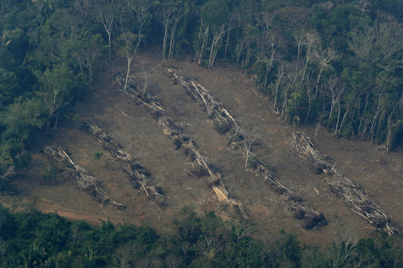 Deforestation advances into the jungle near Jaci Parana, state of Rondonia, Brazil, Saturday, Aug. 24, 2019. Brazil says military aircraft and 44,000 troops will be available to fight fires sweeping through parts of the Amazon region. The defense and environment ministers have outlined plans to battle the blazes that have prompted an international outcry as well as demonstrations in Brazil against President Jair Bolsonaro's handling of the environmental crisis. (AP Photo/Eraldo Peres)