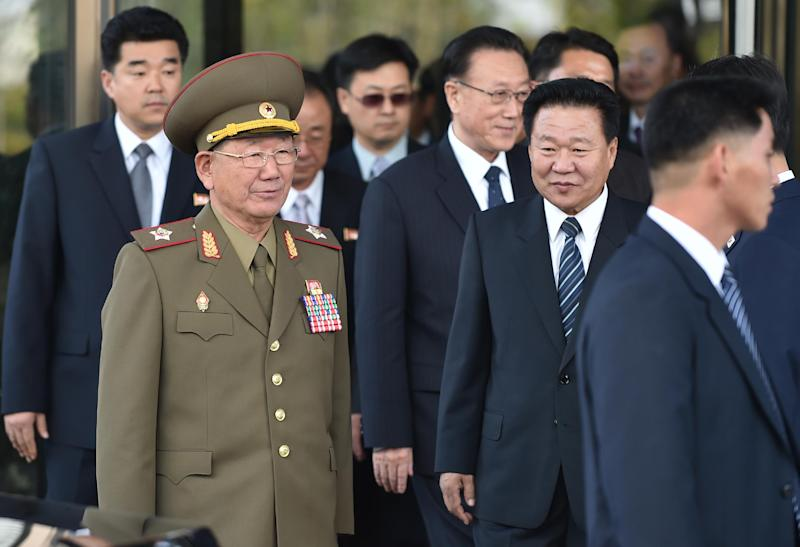 Hwang Pyong-So (2nd L), director of the military's General Political Bureau, the top military post in North Korea, walks with other N.Korean officials, following a meeting in Incheon, South Korea, on October 4, 2014