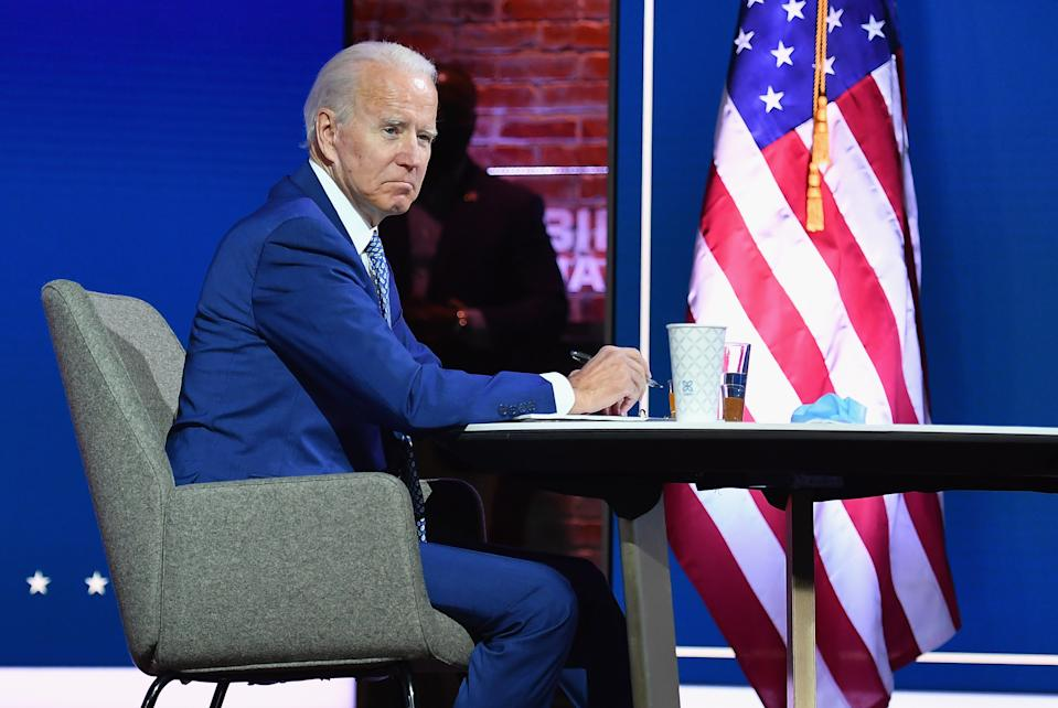 US President-elect Joe Biden and US Vice President-elect Kamala Harris(not shown) speak virtually with the Covid-19 Advisory Council during a briefing at The Queen theatre on November 9, 2020 in Wilmington, Delaware. (Photo by Angela Weiss / AFP) (Photo by ANGELA WEISS/AFP via Getty Images)