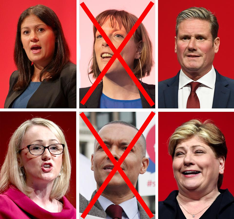 File photos of (left to right) Lisa Nandy, Jess Phillips, Keir Starmer, Rebecca Long-Bailey, Clive Lewis and Emily Thornberry. Jess Phillips is the latest to abandon her bid to become leader of the Labour Party, after admitting she would not be the person to unite the party.