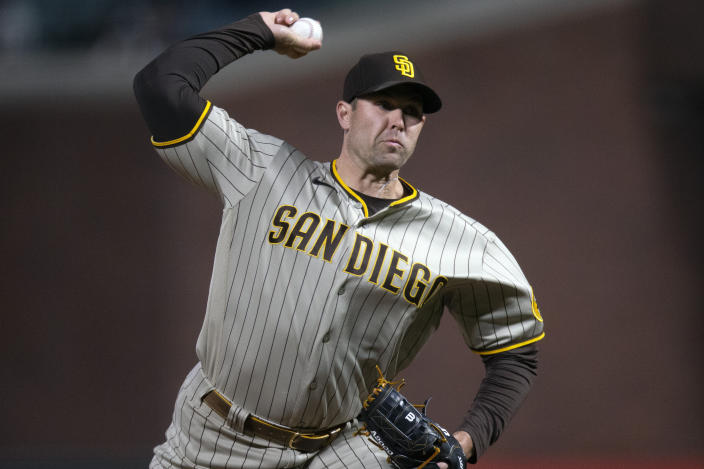 San Diego Padres pitcher Craig Stammen delivers to a San Francisco Giants batter during the sixth inning of a baseball game Friday, May 7, 2021, in San Francisco. (AP Photo/D. Ross Cameron)