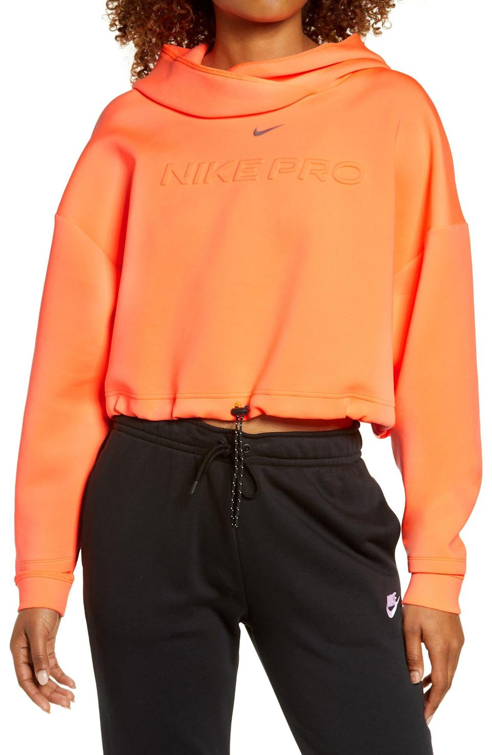 """<h2>Nike Pro-Clean Fleece Hoodie</h2><br>Nike doesn't often make it to the sale section, but when it does, we pounce — especially if the item in question is a cropped, quick-drying hoodie in a shade of iridescent neon. """"Love love this hoodie,"""" wrote reviewer VictoriaO883447444. """"So chic and effortless.""""<br><br><em>Shop <strong><a href=""""https://www.nordstrom.com/brands/nike--535"""" rel=""""nofollow noopener"""" target=""""_blank"""" data-ylk=""""slk:Nike"""" class=""""link rapid-noclick-resp"""">Nike</a></strong></em><br><br><strong>Nike</strong> Pro Clean Fleece Hoodie, $, available at <a href=""""https://go.skimresources.com/?id=30283X879131&url=https%3A%2F%2Fwww.nordstrom.com%2Fs%2Fnike-pro-clean-fleece-hoodie%2F6118225%3F%26color%3Dbright%2520mango%252F%2520metallic%2520silver"""" rel=""""nofollow noopener"""" target=""""_blank"""" data-ylk=""""slk:Nordstrom"""" class=""""link rapid-noclick-resp"""">Nordstrom</a>"""