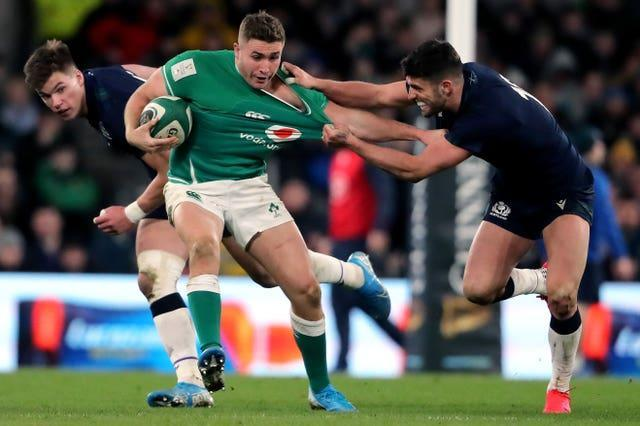 The recalled Jordan Larmour, centre, is part of an all-Leinster backline