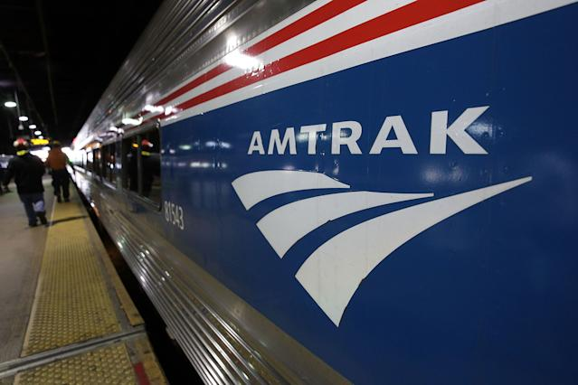 An Amtrak train waits at a platform prior to its departure at Union Station in Washington, D.C. (Photo: Alex Wong/Getty Images)