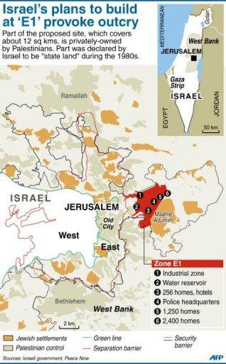 Map locating the E1 land corridor as well as other Jewish settlements in the West Bank. Israel stood firm in the face of mounting international pressure as it pushed ahead with a swathe of settlement plans seen as threatening the viability of a future Palestinian state
