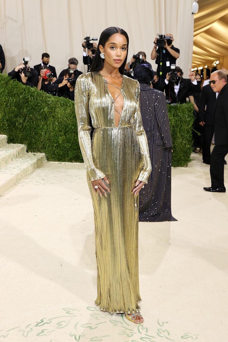 """<h1 class=""""title"""">Laura Harrier, The 2021 Met Gala Celebrating In America: A Lexicon Of Fashion - Arrivals</h1><cite class=""""credit"""">Getty</cite>"""
