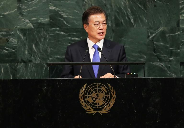 South Korean President Moon Jae-in addresses world leaders at the 72nd United Nations General Assembly in New YorkMore