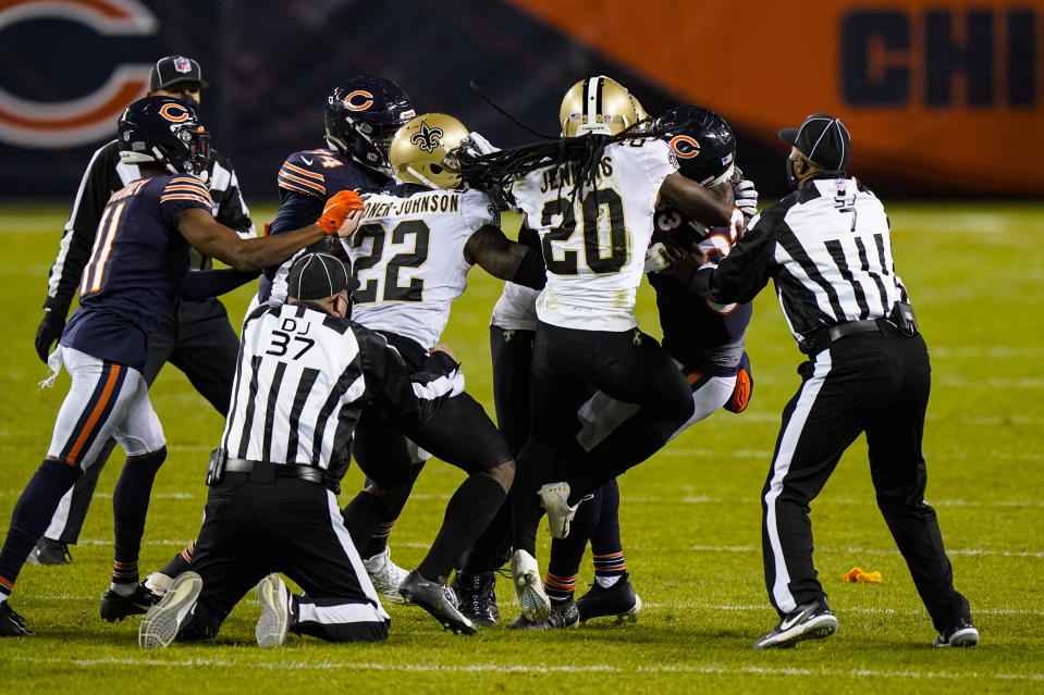 Chicago Bears wide receiver Javon Wims and New Orleans Saints cornerback Janoris Jenkins (20) fight in the second half of an NFL football game against the New Orleans Saints in Chicago, Sunday, Nov. 1, 2020. Wims was called for unnecessary roughness and was ejected from the game. (AP Photo/Nam Y. Huh)