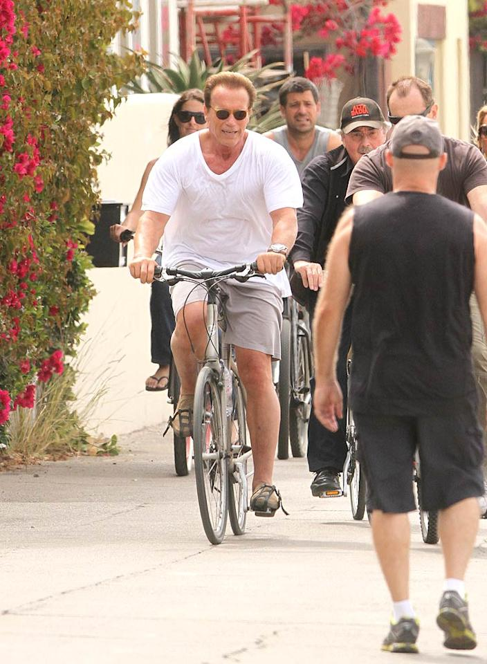 """Arnold Schwarzenegger kicked off his birthday festivities on July 30 with a bike ride in Venice Beach, California. At 64, he's got to make sure to get in his daily exercise! <a href=""""http://www.infdaily.com"""" target=""""new"""">INFDaily.com</a> - July 30, 2011"""