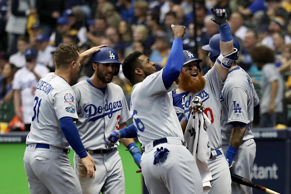 Justin Turner homered in the eighth inning to give the Los Angeles Dodgers the lead and victory over the Milwaukee Brewers. (Getty Images)