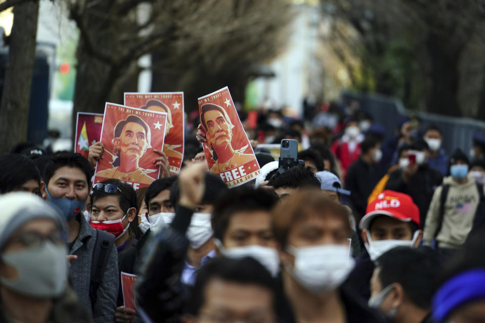 Burmese living in Japan and supporters march during a protest in front of the Foreign Ministry in Tokyo Wednesday, Feb. 3, 2021. Myanmar's new leader said the military government installed after Monday's coup plans an investigation into alleged fraud in last year's elections and will also prioritize the COVID-19 outbreak and the economy, a state newspaper reported Wednesday. (AP Photo/Eugene Hoshiko)