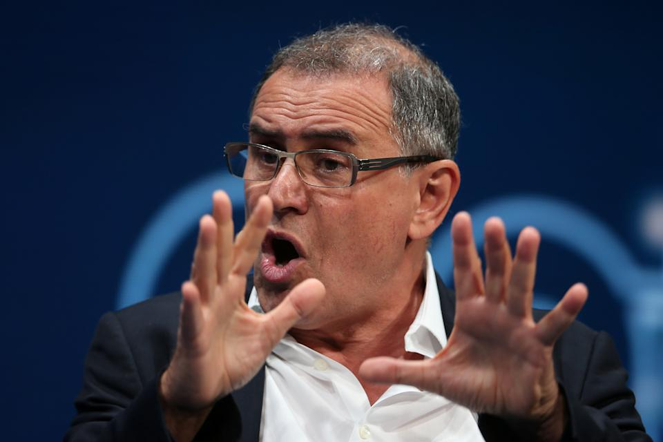 Nouriel Roubini, Chairman of Roubini Macro Associates LLC and Professor of Economics, Stern School of Business, New York University, speaks during the Milken Institute Global Conference in Beverly Hills, California, U.S., May 3, 2017. REUTERS/Lucy Nicholson
