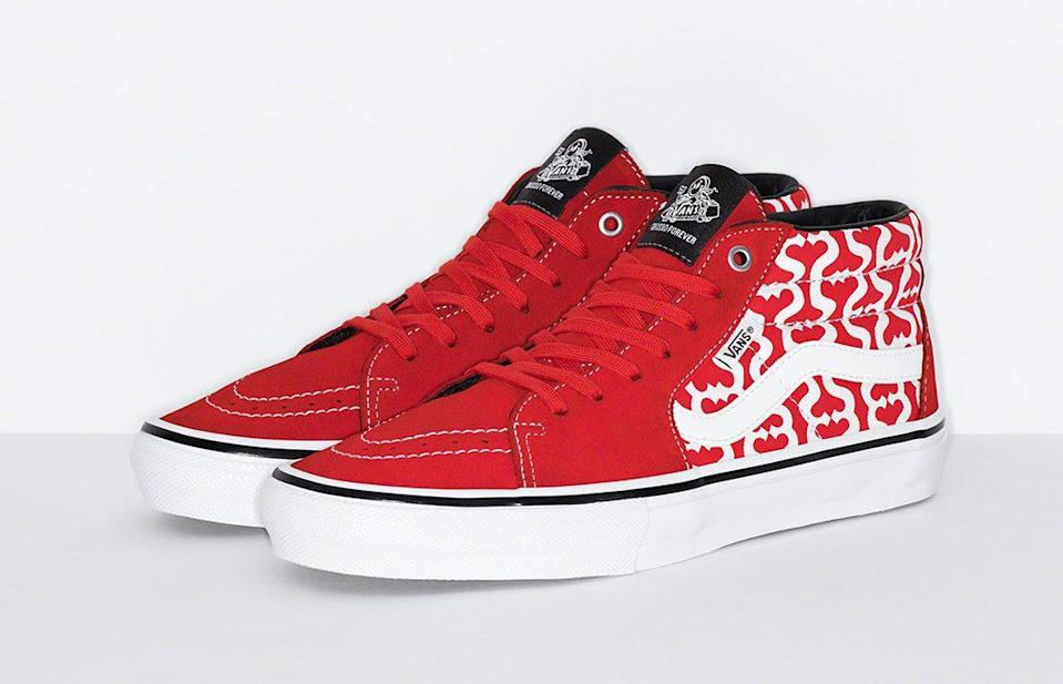 The Supreme x Vans Skate Grosso Mid in red. - Credit: Courtesy of Supreme