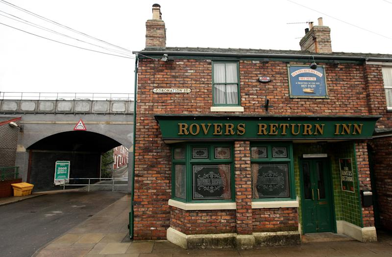 A general view of the Rovers Return Inn on the set of Coronation Street in Manchester. (PA)