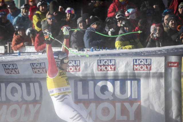 Germany's Thomas Dressen reacts in the finish area following his run in the men's World Cup downhill ski race in Lake Louise, Alberta, Canada, on Saturday, Nov. 30, 2019. (Jeff McIntosh/The Canadian Press via AP)